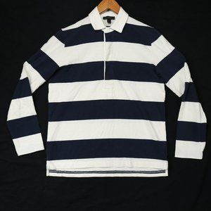 J. Crew Men's Blue Striped Rugby Polo Shirt
